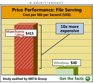 graphe démontrant que Linux sur mainframe est 10 fois plus coûteux que Windows sur PC