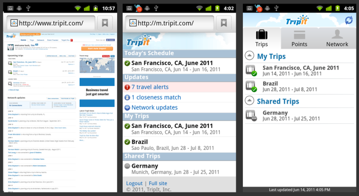 Three presentations of Tripit's front page