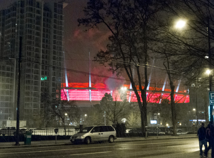 BC Place in a snowstorm
