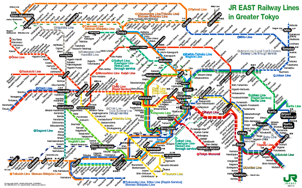 map of the Tokyo JR system