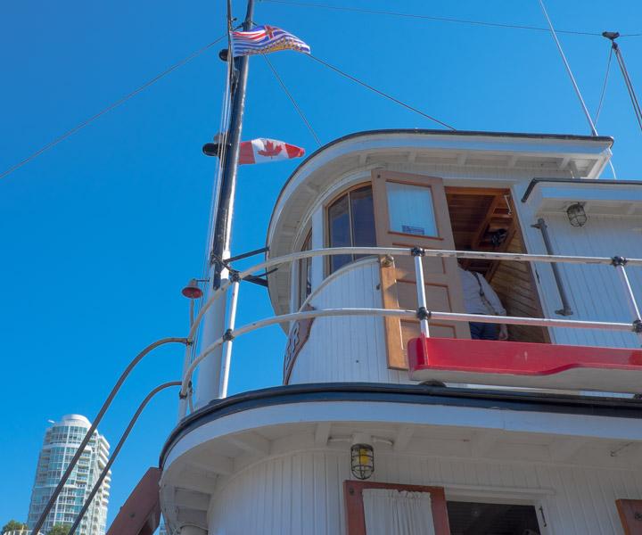 Looking up at a tugboat bridge