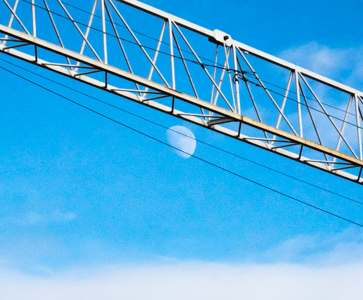 The moon and crane arm
