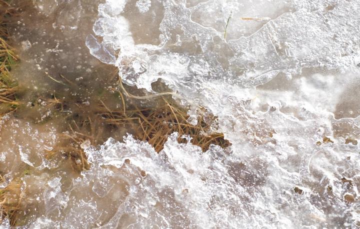 Prairie ice melting in spring