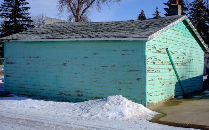 Regina, Saskatchewan garage in color-corrected light turquoise