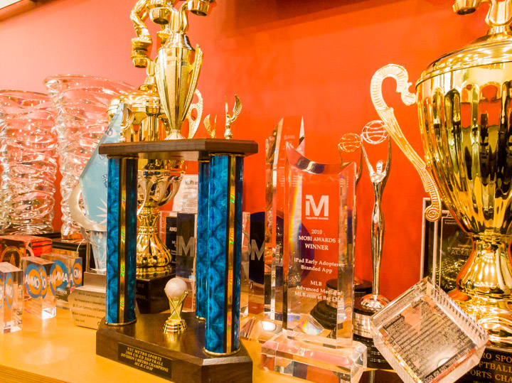 Trophies at the MLB.com office