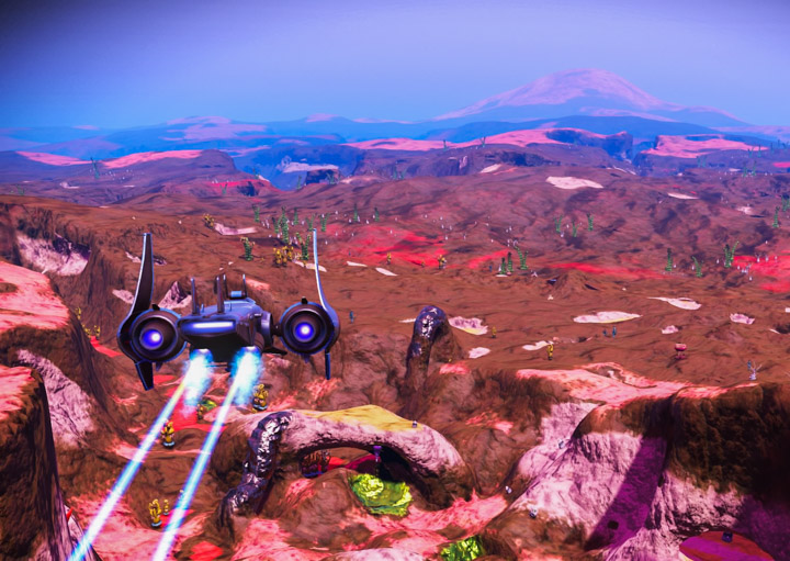 Starship flying in No Man's Sky
