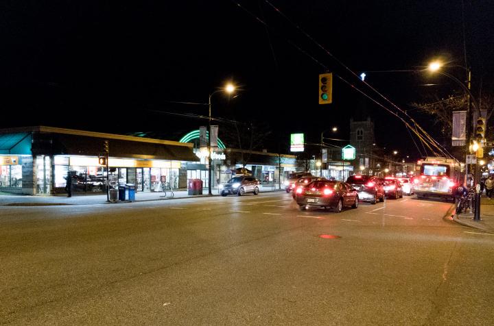 Vancouver night street scene