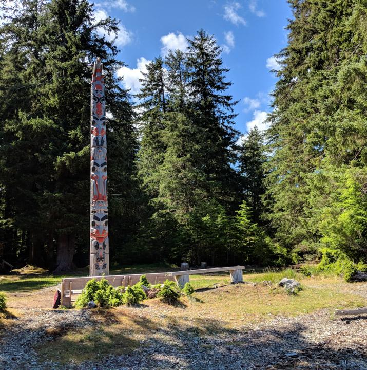 Totem pole at Windy Bay on Lyell Island
