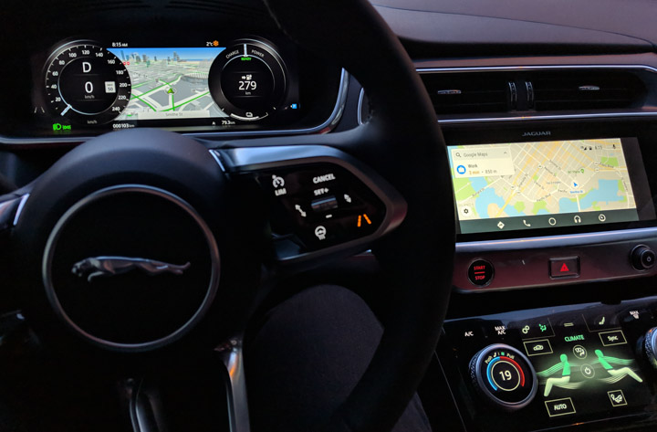 Jaguar I-Pace screens including Google Play