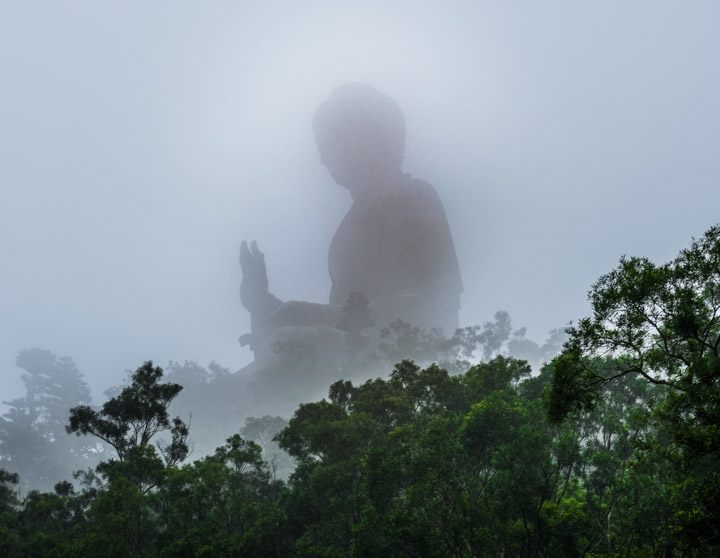The Tian Tan Buddha in the fog