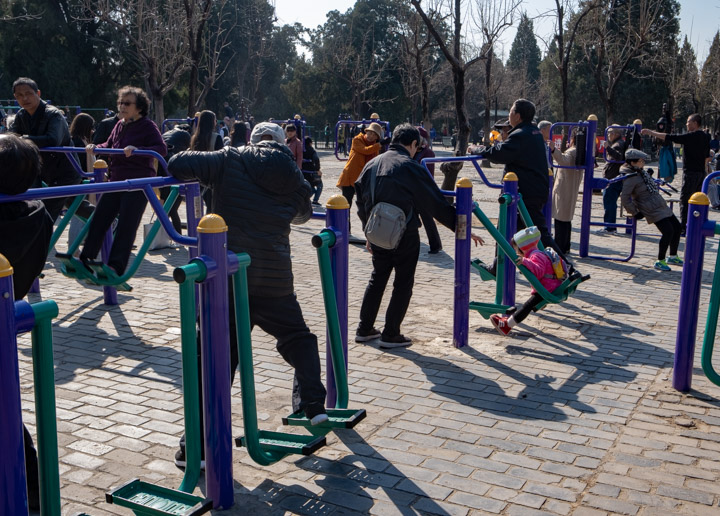 Exercising in the Temple of Heaven park, Beijing