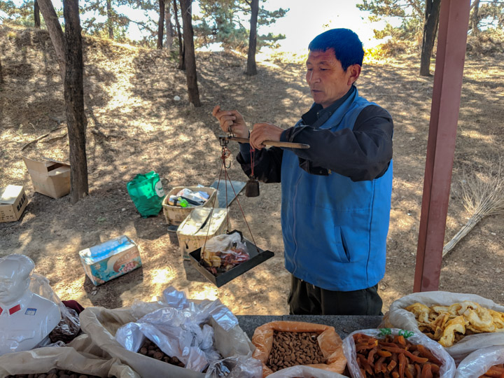 Dried-fruit vendor at the Eastern Qing tombs