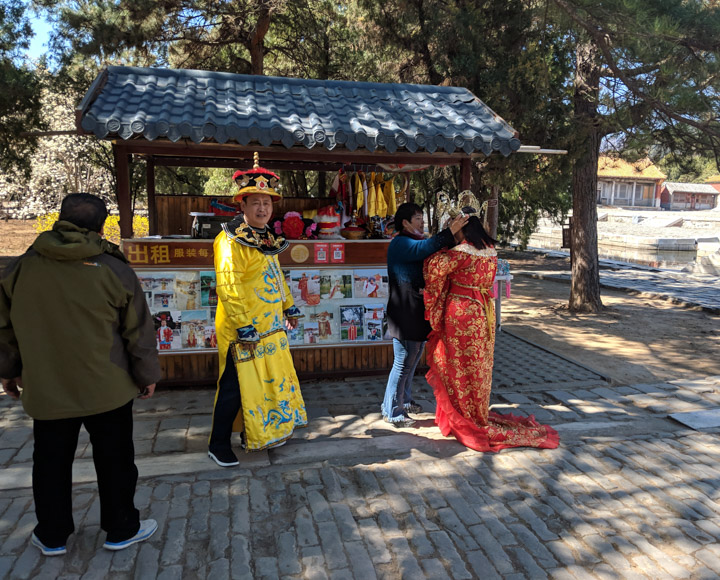 Dressing up for a photo at the Eastern Qing Tombs