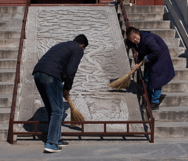 Maintaining the carvings at the Eastern Qing Tombs