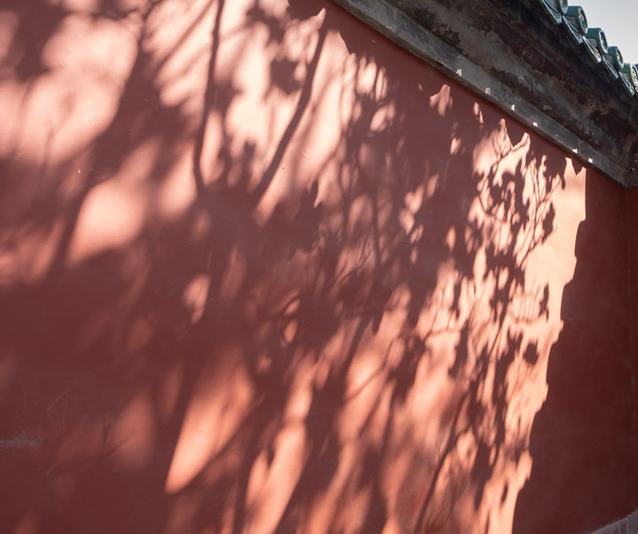Shadows on a Chinese temple wall