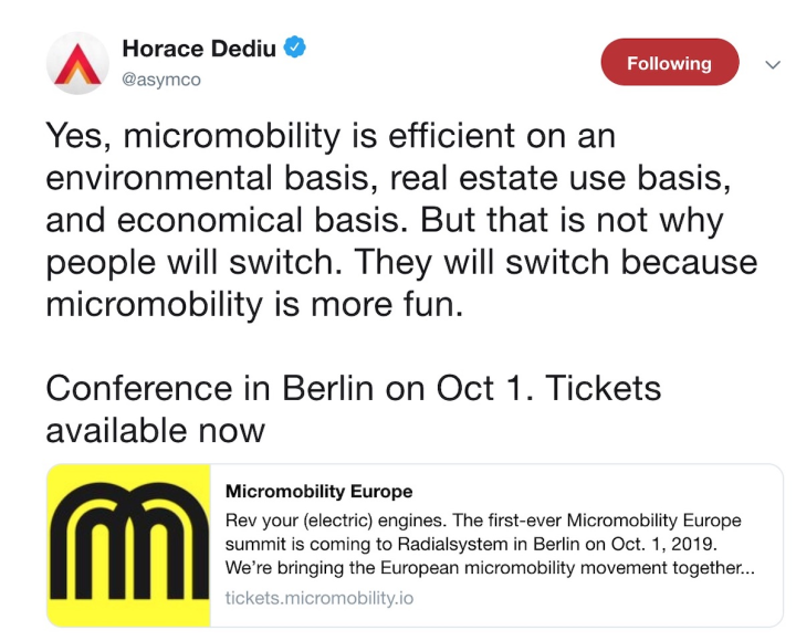 Horace Dediu on Micromobility