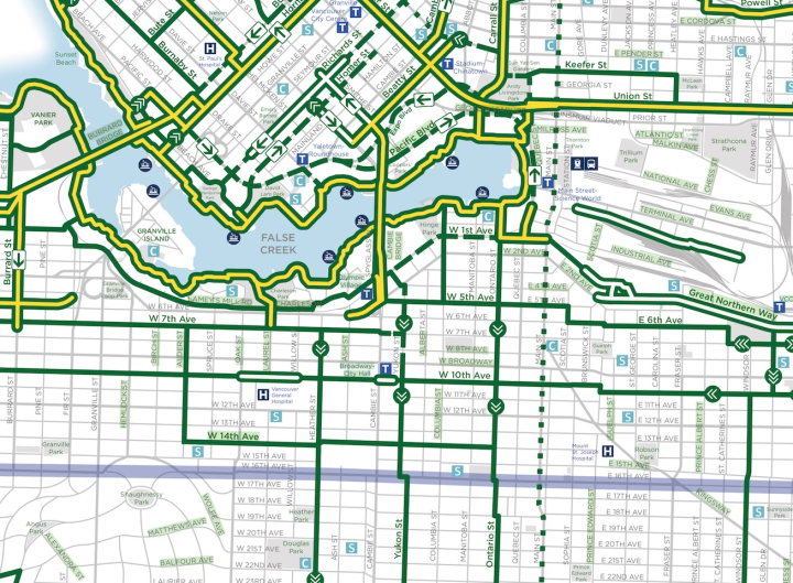 Central Vancouver biking map