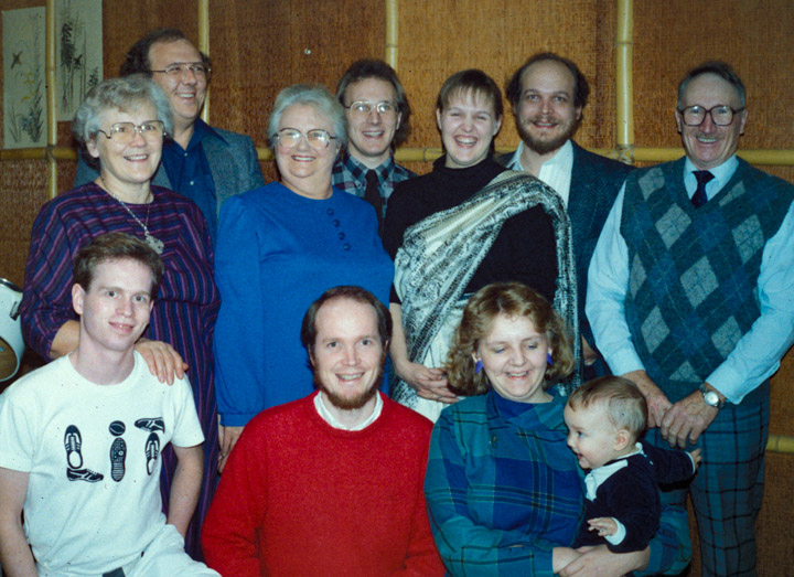 Beth White and Jean Bray and their children in 1986