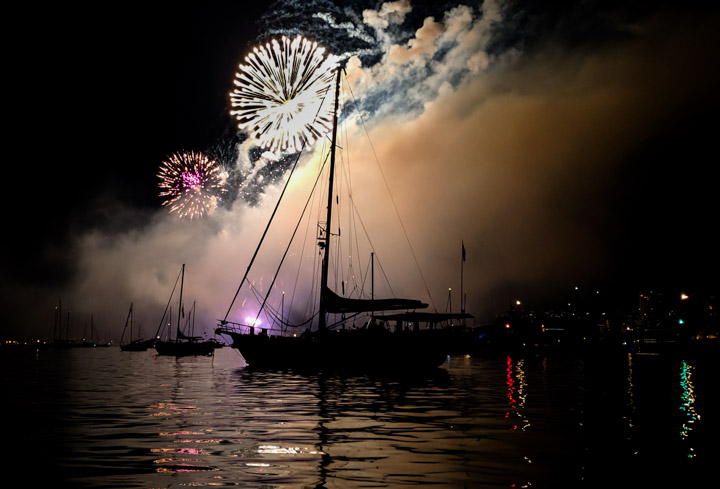Fireworks in English Bay, photographed from a Jeanneau 795