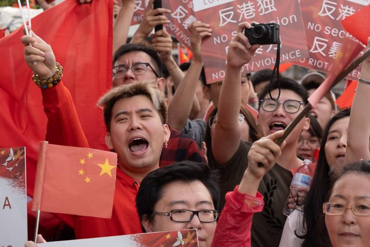 Pro-Beijing demonstrator