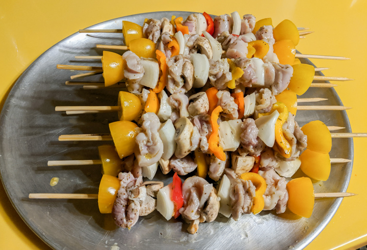 Chicken kebabs ready to cook