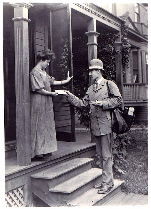 Postman delivers letter