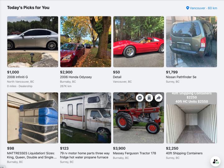 Facebook Marketplace front page