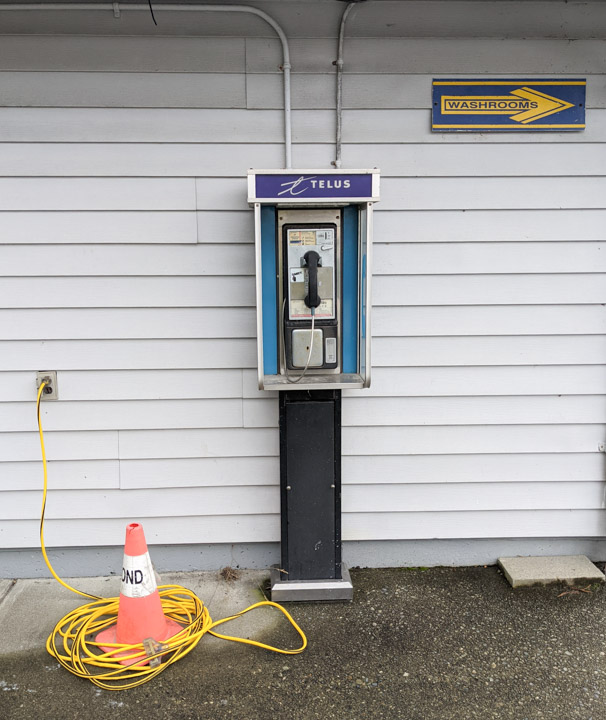 Pay phone (!) in McDonald Park on Sea Island, Vancouver