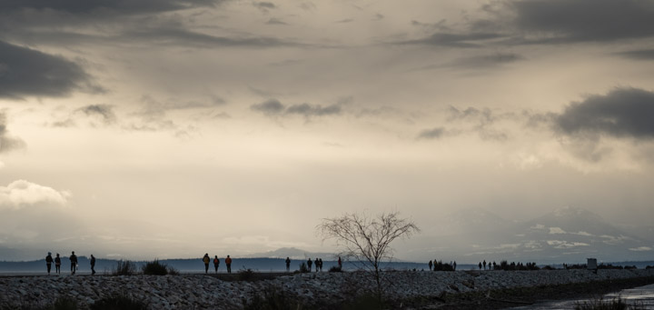 People walking on South Iona Jetty, Vancouver