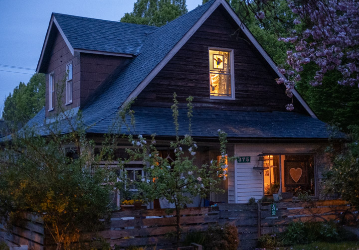 Old East Vancouver house at twilight