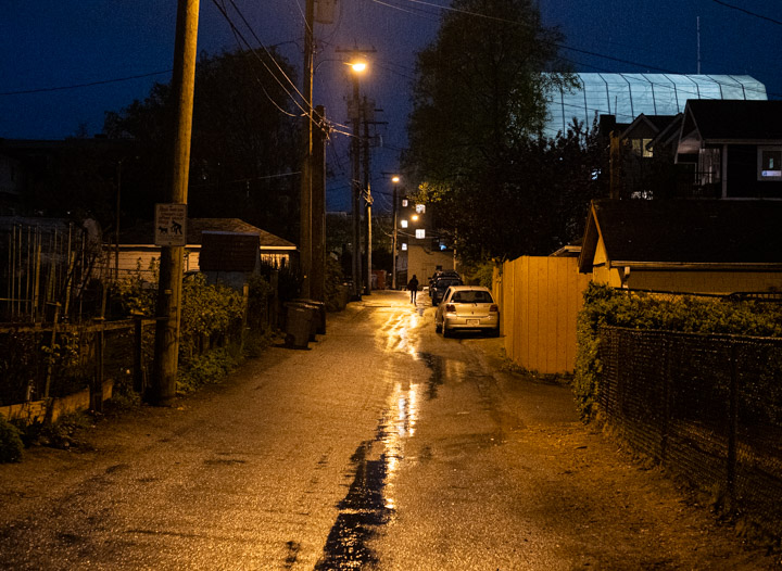 East Vancouver alley at twilight