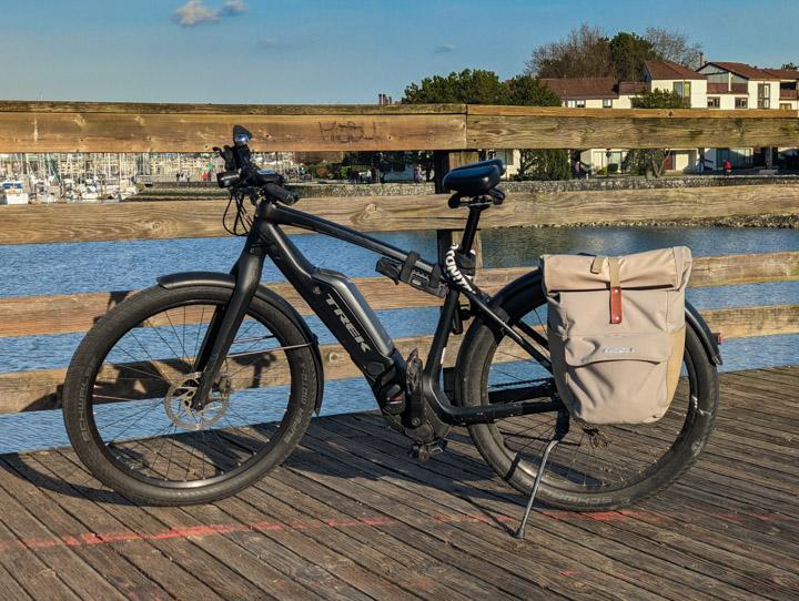 Trek e-bike at Vancouver's False Creek