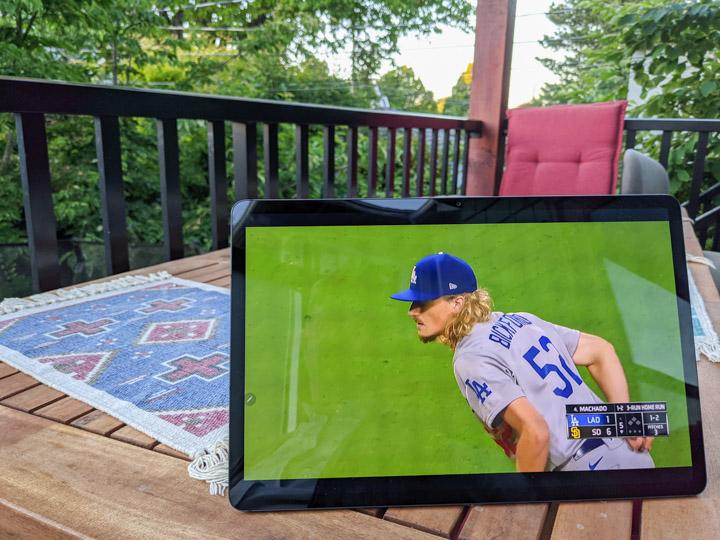 Samsung S7+ tab displaying an MLB.tv ball game