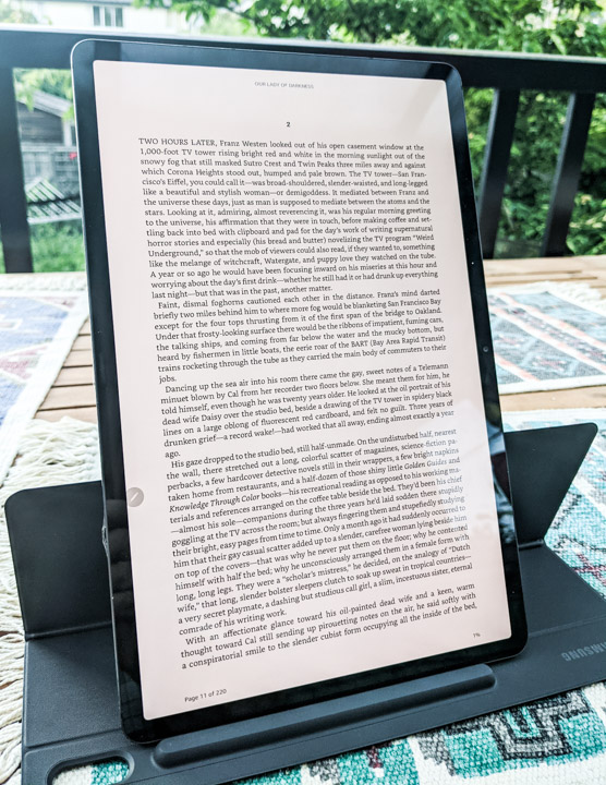 Galaxy Tab S7+ mounted vertically running Kindle.