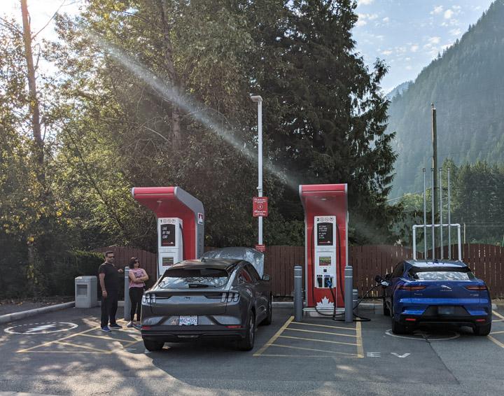 Jaguar and Mustang charging up in Hope, BC